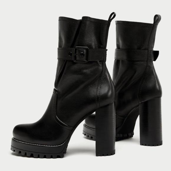 f48f203c8307 Zara Studio Leather High Heel Ankle Boots Size 38.  M 5aa429472c705d775c543219